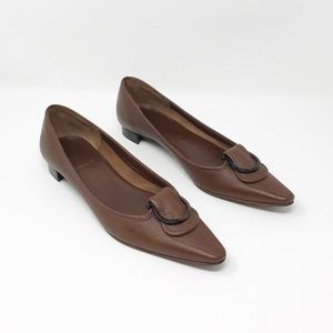 Salvatore Ferragamo Brown Leather Shoes Size 8.5 N